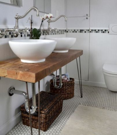 Elegant bowl less sink bathroom ideas 24