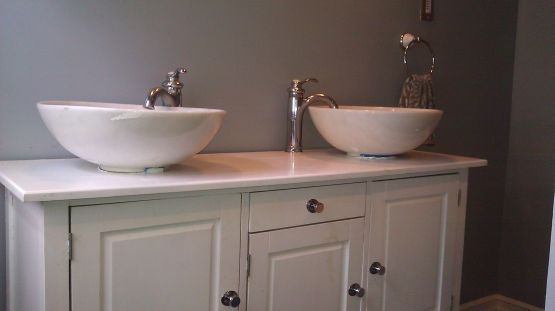 Elegant bowl less sink bathroom ideas 30