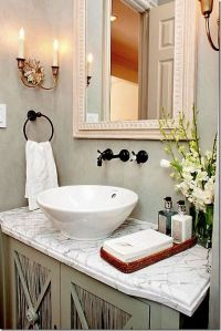 Elegant bowl less sink bathroom ideas 33