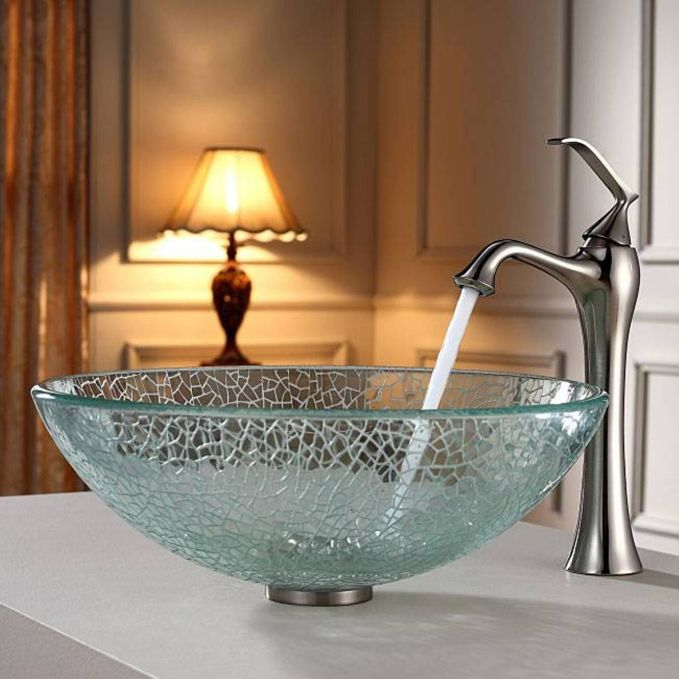 Elegant bowl less sink bathroom ideas 47