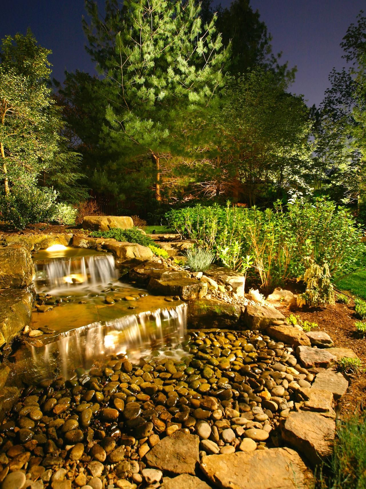 Gorgeous night yard landscape lighting design ideas 09