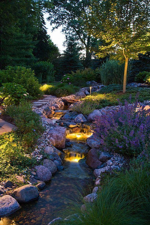 Gorgeous night yard landscape lighting design ideas 24