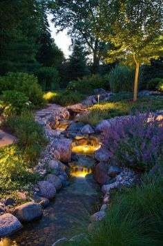 Gorgeous night yard landscape lighting design ideas 24