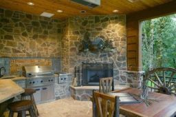 Romantic rustic outdoor kitchen designs with fireplace 03
