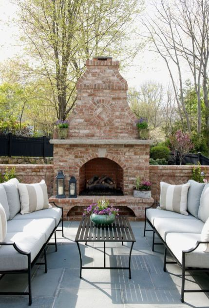 Romantic rustic outdoor kitchen designs with fireplace 04