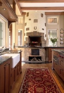 Romantic rustic outdoor kitchen designs with fireplace 06