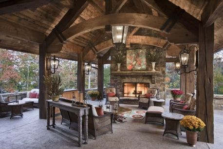 Romantic rustic outdoor kitchen designs with fireplace 14