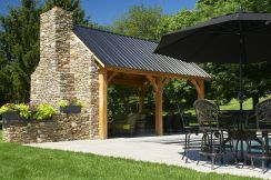 Romantic rustic outdoor kitchen designs with fireplace 15