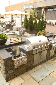 Romantic rustic outdoor kitchen designs with fireplace 16