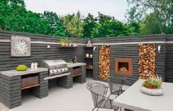 Romantic rustic outdoor kitchen designs with fireplace 31