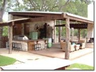 Romantic rustic outdoor kitchen designs with fireplace 38