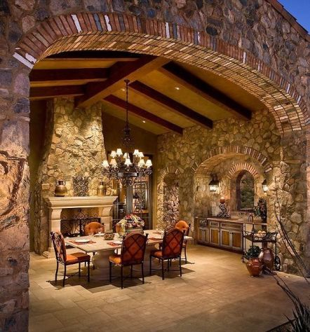 Romantic rustic outdoor kitchen designs with fireplace 40