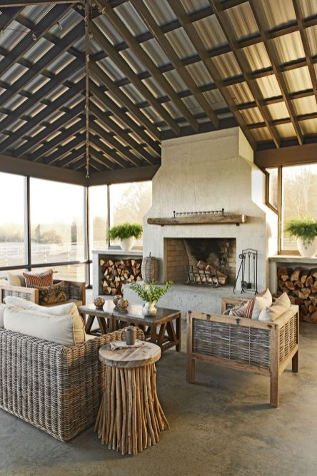 Romantic rustic outdoor kitchen designs with fireplace 43