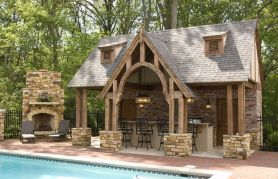 Romantic rustic outdoor kitchen designs with fireplace 44
