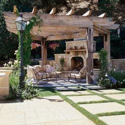 Romantic rustic outdoor kitchen designs with fireplace 48