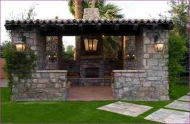 Romantic rustic outdoor kitchen designs with fireplace 50