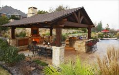 Romantic rustic outdoor kitchen designs with fireplace 55