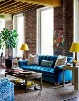 Colorful brick wall design ideas for home interior ideas 43