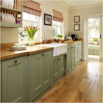 Cozy color kitchen cabinet decor ideas 16
