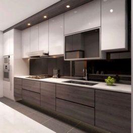 Cozy color kitchen cabinet decor ideas 27