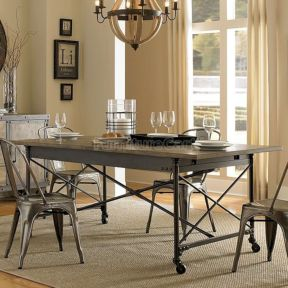 Elegant industrial metal chair designs for dining room 28