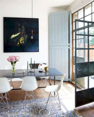 Elegant industrial metal chair designs for dining room 48