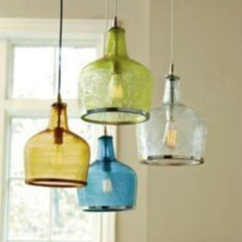 Fascinating colorful glass pendant lamps ideas for your kitchen 18