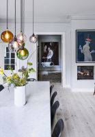 Fascinating colorful glass pendant lamps ideas for your kitchen 23