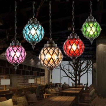 Fascinating colorful glass pendant lamps ideas for your kitchen 30
