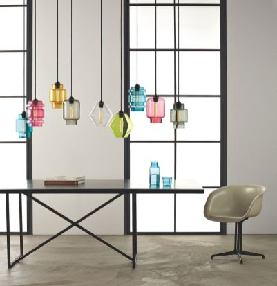 Fascinating colorful glass pendant lamps ideas for your kitchen 33