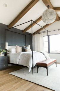 Modern tiny bedroom with black and white designs ideas for small spaces 04