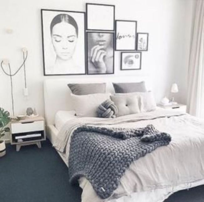 Modern tiny bedroom with black and white designs ideas for small spaces 13