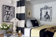 Modern tiny bedroom with black and white designs ideas for small spaces 14
