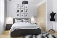 Modern tiny bedroom with black and white designs ideas for small spaces 15