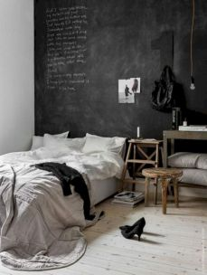 Modern tiny bedroom with black and white designs ideas for small spaces 25