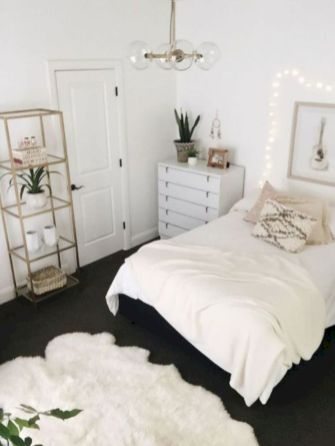 Modern tiny bedroom with black and white designs ideas for small spaces 35