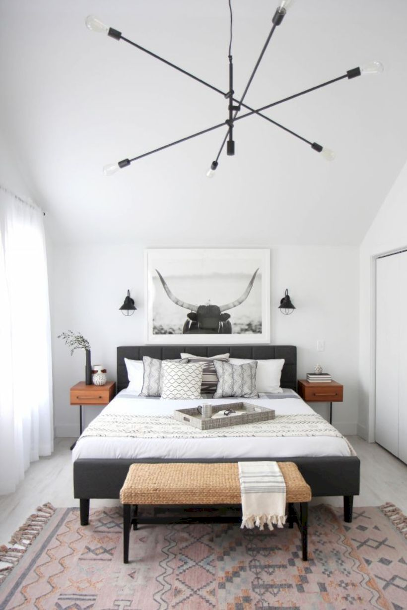 Modern tiny bedroom with black and white designs ideas for small ...