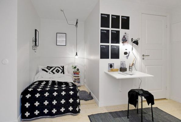 Modern tiny bedroom with black and white designs ideas for small spaces 43