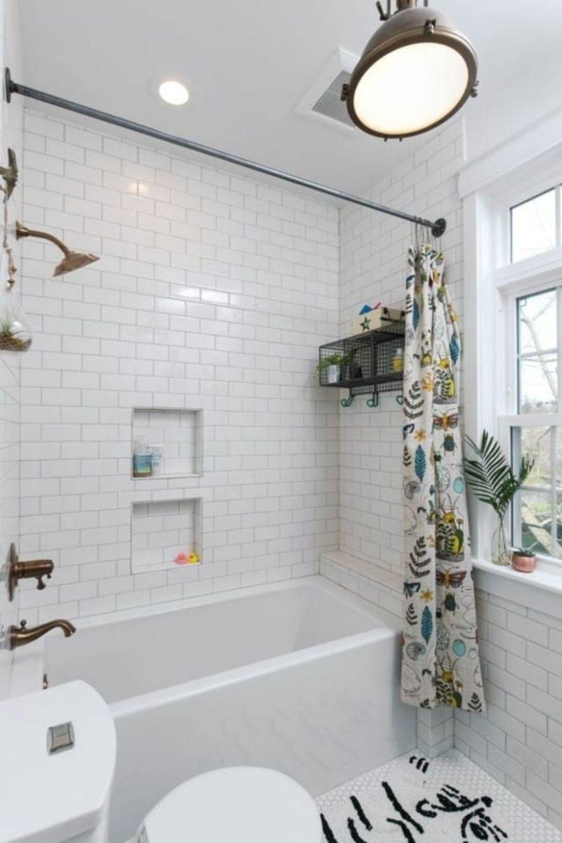 Shabby chic blue shower tile design ideas for your bathroom 06
