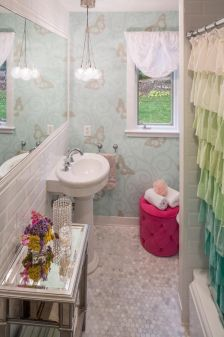 Shabby chic blue shower tile design ideas for your bathroom 22