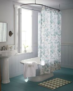 Shabby chic blue shower tile design ideas for your bathroom 24