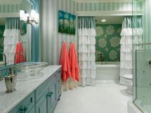 Shabby chic blue shower tile design ideas for your bathroom 27