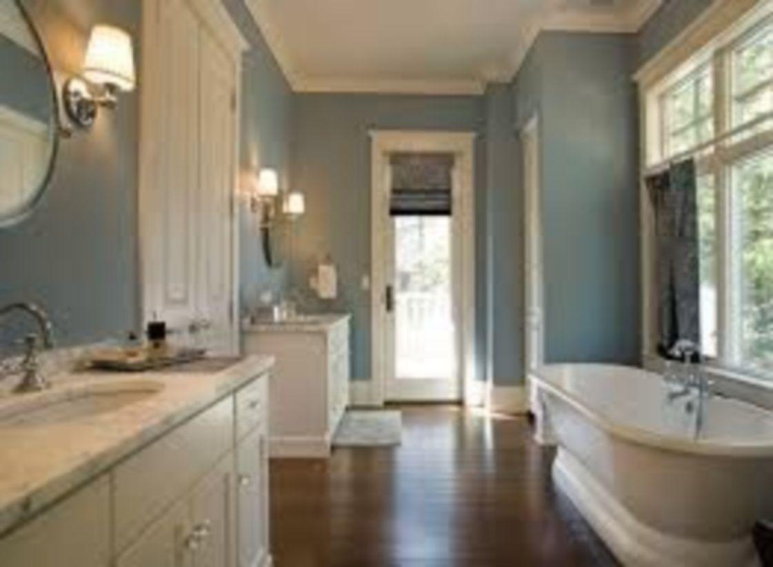 Shabby chic blue shower tile design ideas for your bathroom 38
