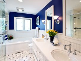 Shabby chic blue shower tile design ideas for your bathroom 41