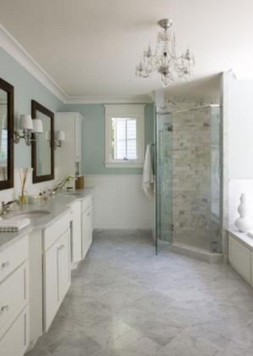 Shabby chic blue shower tile design ideas for your bathroom 42