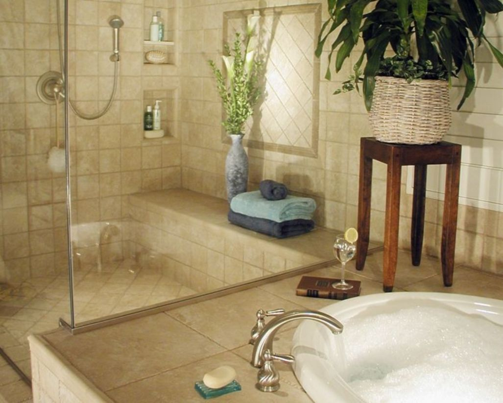 Shabby chic blue shower tile design ideas for your bathroom 44