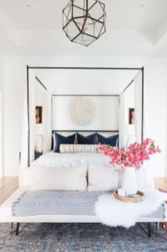 Unique white minimalist master bedroom design ideas 09