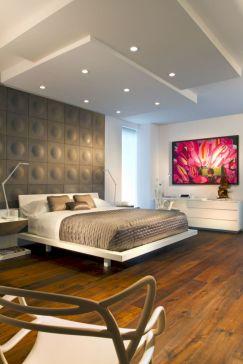 Unique white minimalist master bedroom design ideas 15