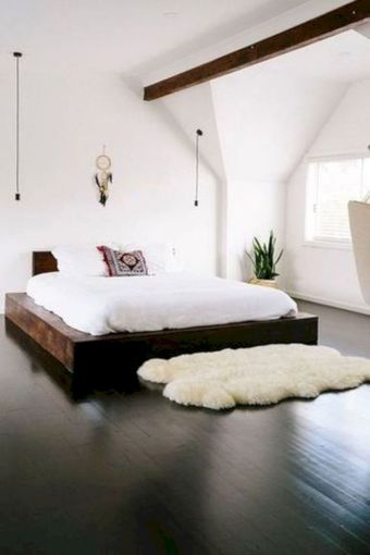 Unique white minimalist master bedroom design ideas 21