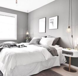 Unique white minimalist master bedroom design ideas 31